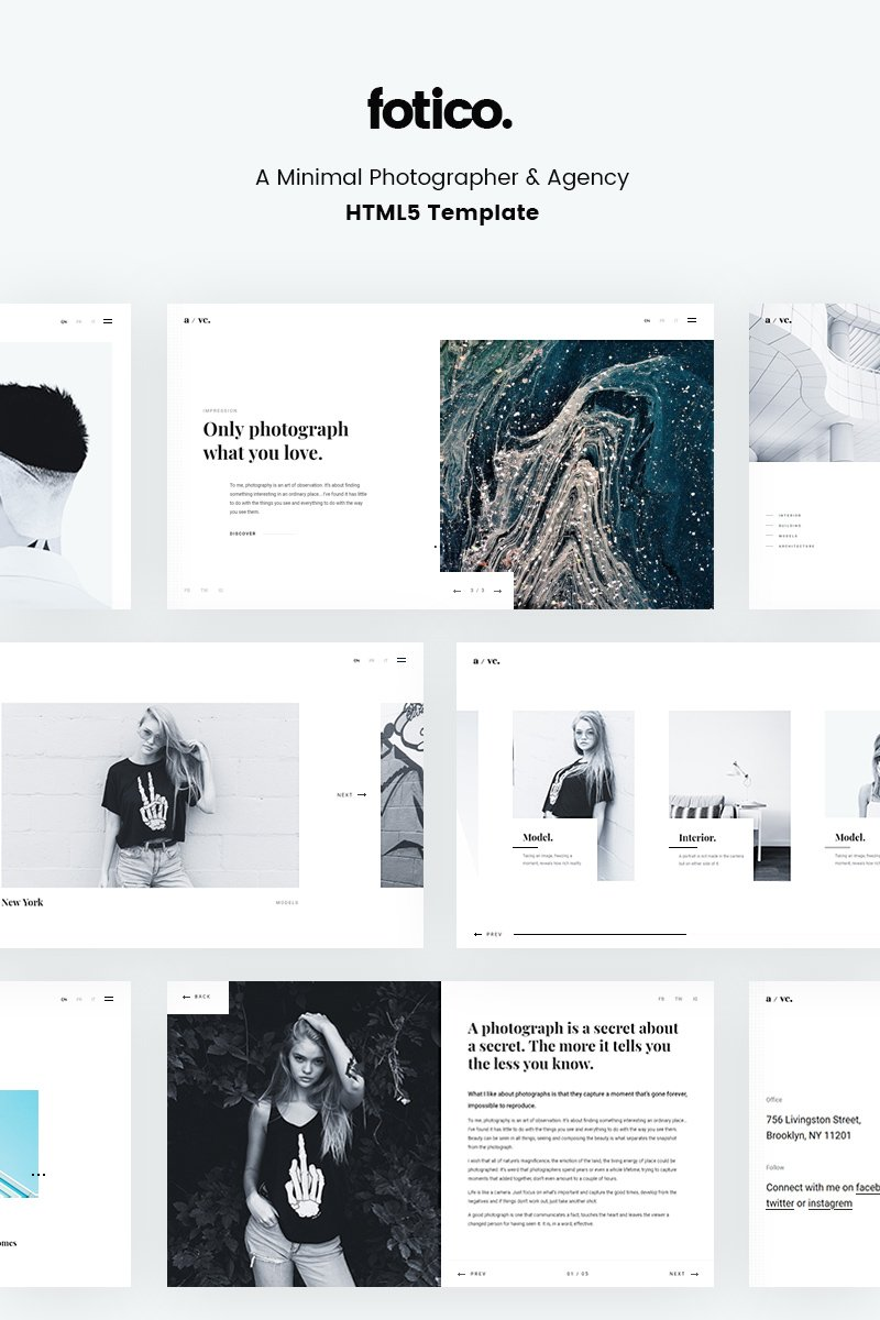 Fotico - Minimal Photographer & Agency HTML5 Template Web №67126 - captura de tela
