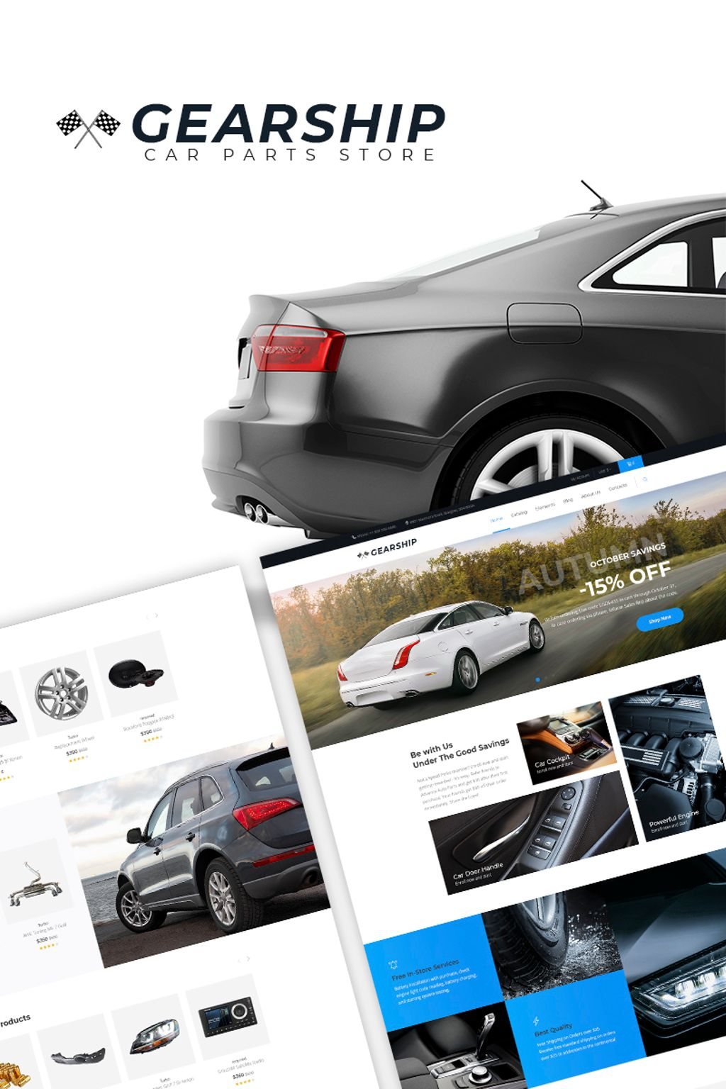 """""""GearShip - Car Parts Store Elementor"""" Responsive WooCommerce Thema №67168"""