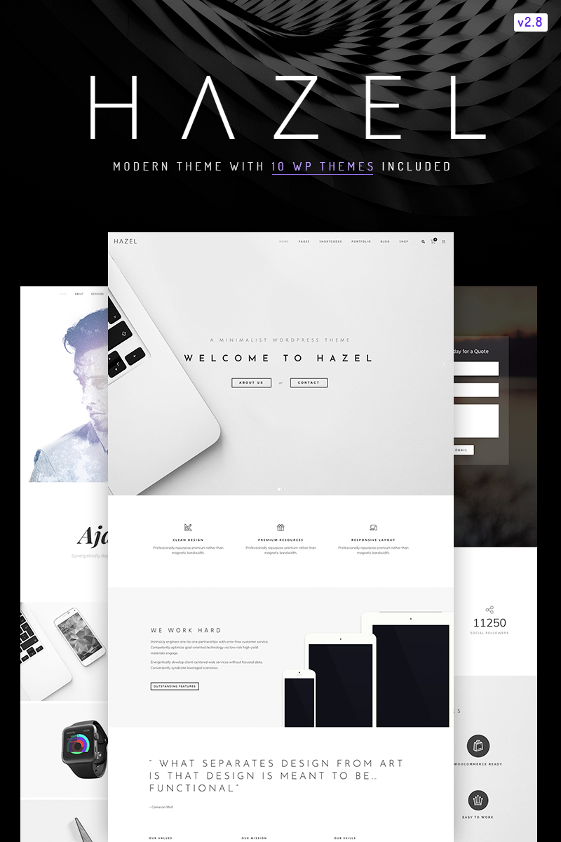 """Hazel - Clean Minimalist Multi-Purpose"" Responsive WordPress thema №67167"