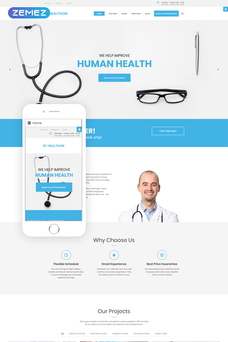 """Healthon - Hospital Clean"" 响应式Joomla模板 #67150"