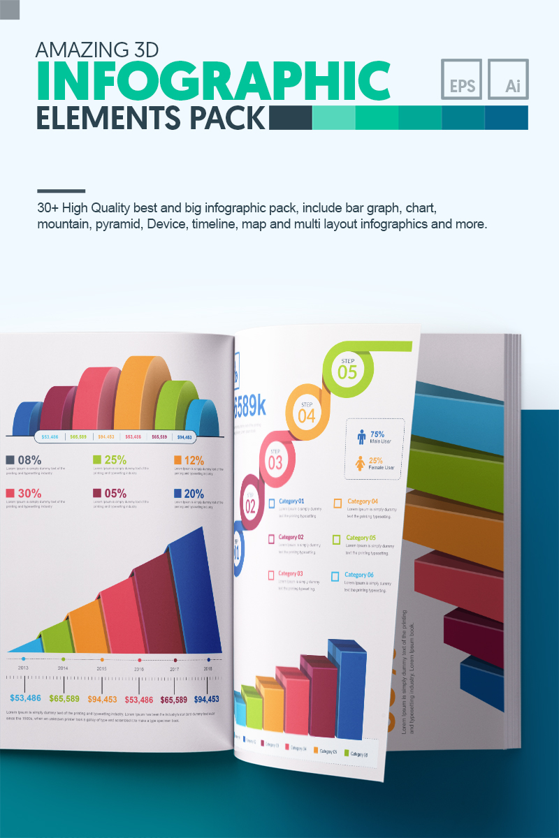 "Infografik-Elemente namens ""3D Business Bundle | 35+ Vector AI, EPS Handmade Realistic Infographic Set | Instant Download | Digital File"" #67122"