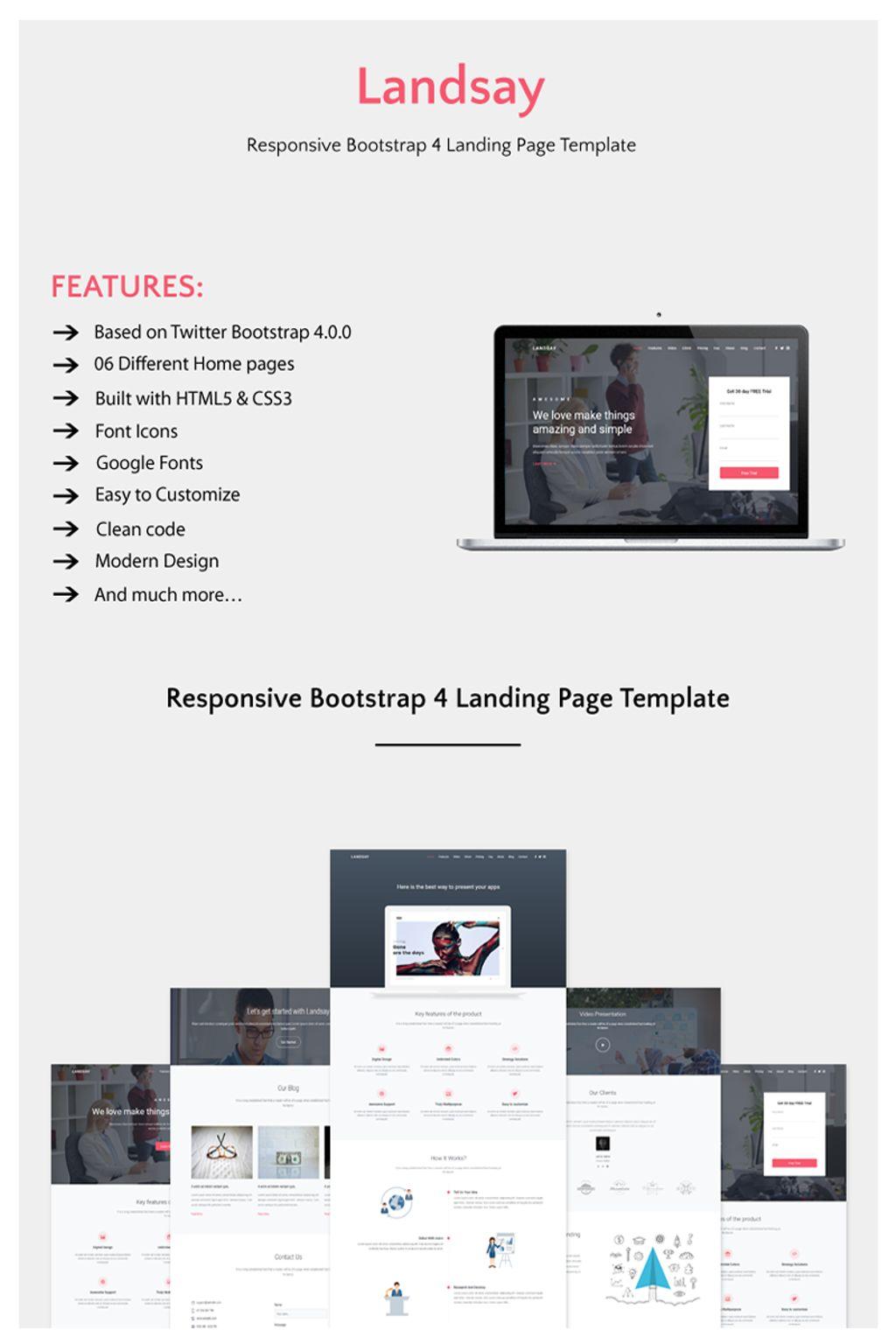 """Landsay - Responsive Bootstrap 4 Website Template"" 响应式网页模板 #67145"