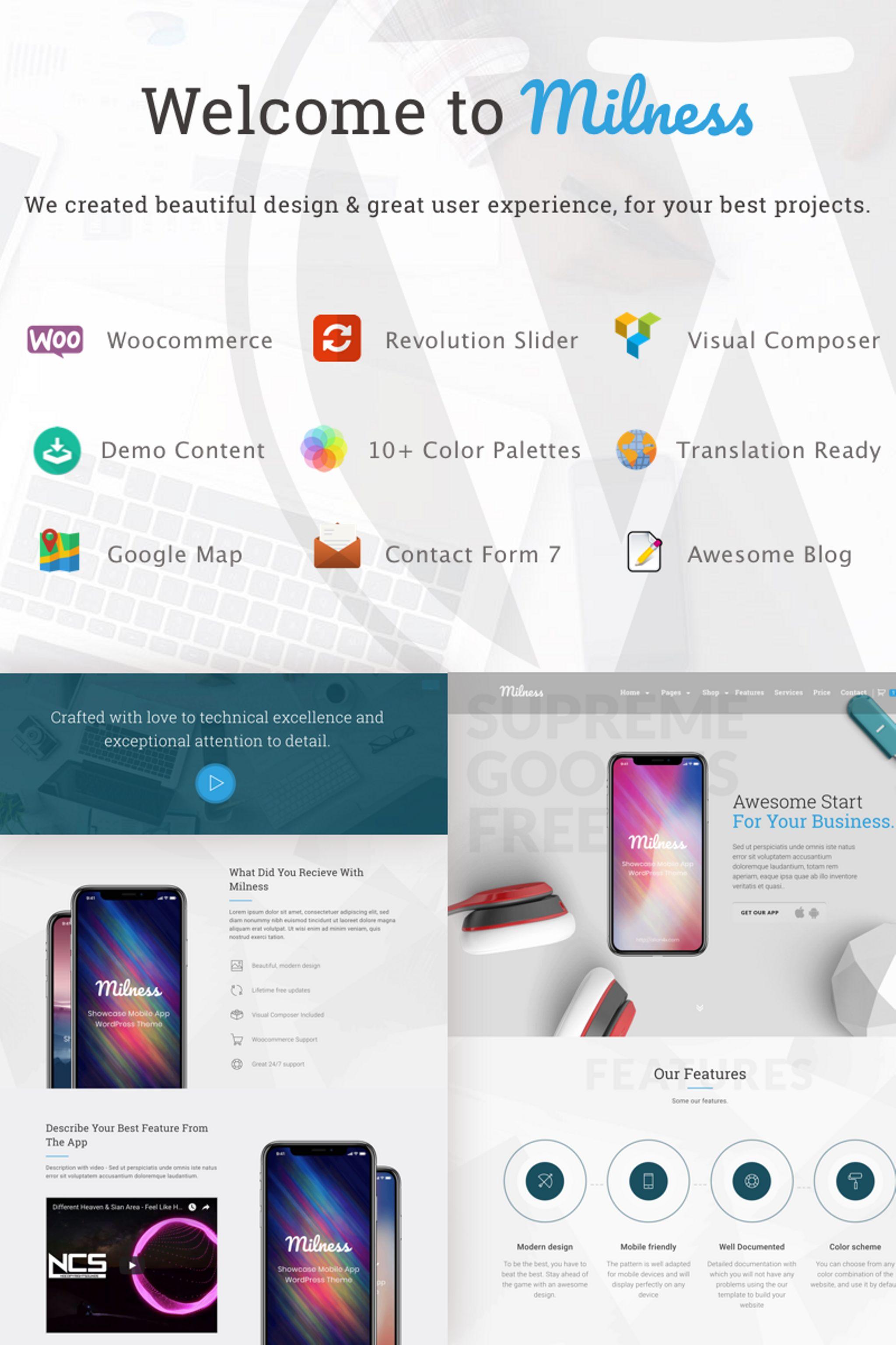 """Milness - Showcase Mobile App"" Responsive WordPress thema №67125"