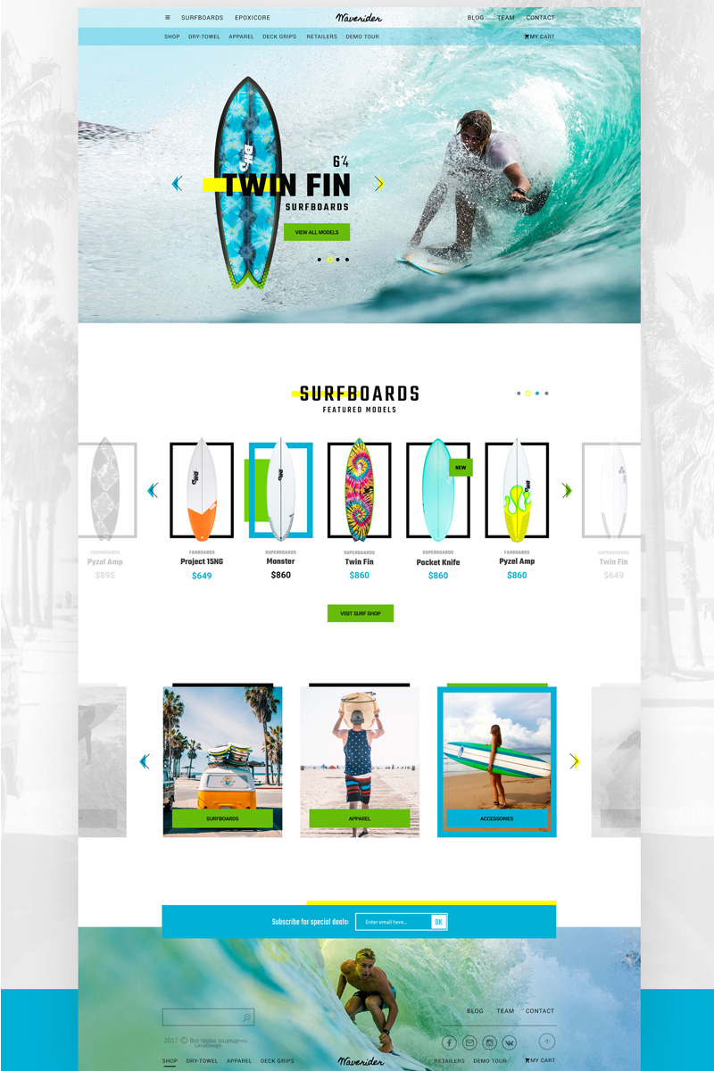 "Modello PSD #67118 ""Online shop for surfing"""