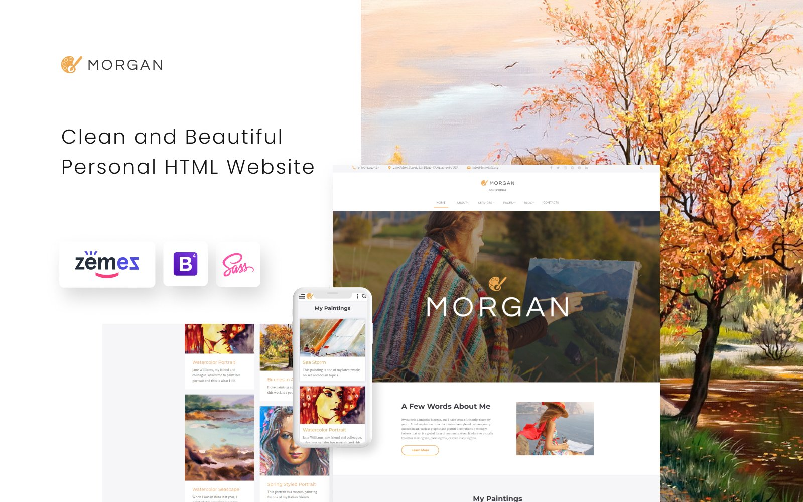 """Morgan - Artist Portfolio Multipage HTML5"" Responsive Website template №67197"
