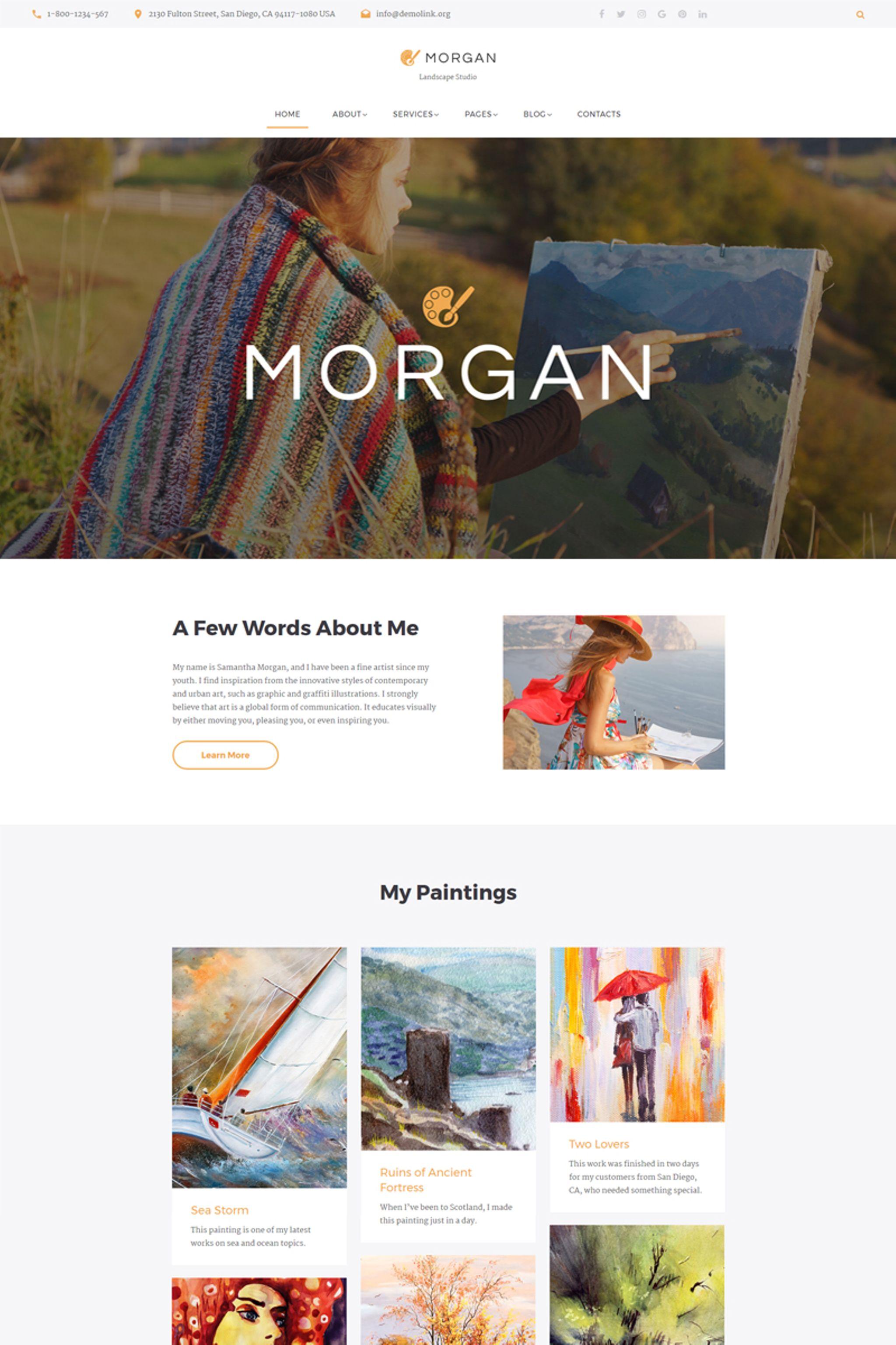 """Morgan - Artist Portfolio Multipage HTML5"" Responsive Website template №67197"