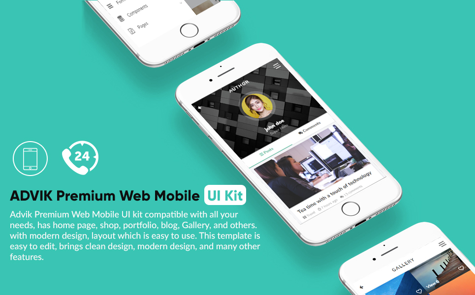 "Plantilla De Aplicación ""ADVIK Premium Web Mobile UI Kit"" #67114"