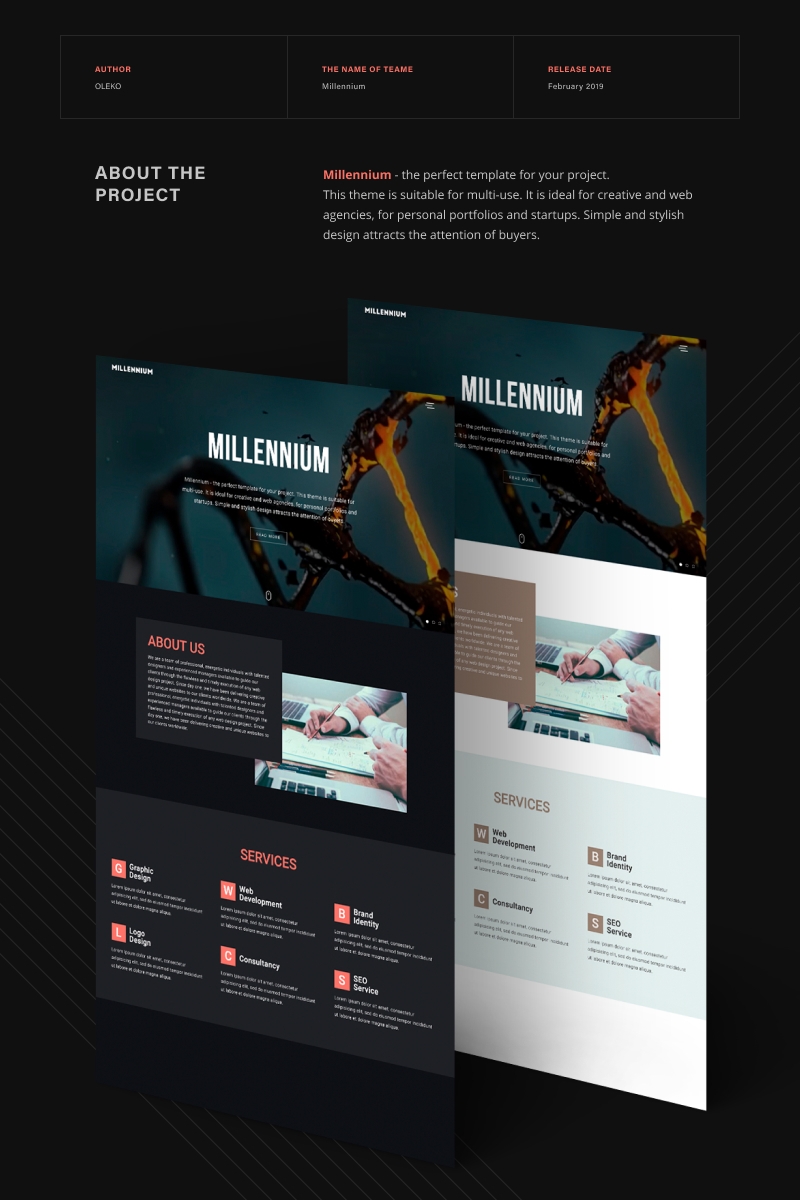 "Plantilla Web ""Millennium - Creative Minimalistic HTML5"" #67173"