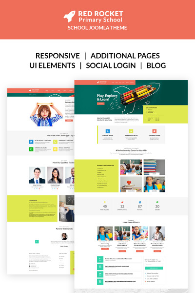Red Rocket - Primary School Template Joomla №67175 #67175