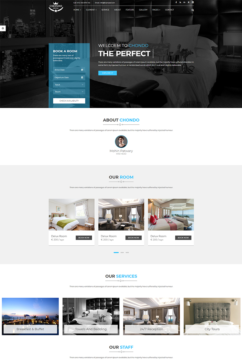 Responsive Chondo - Hotel HTML Web Sitesi #67170