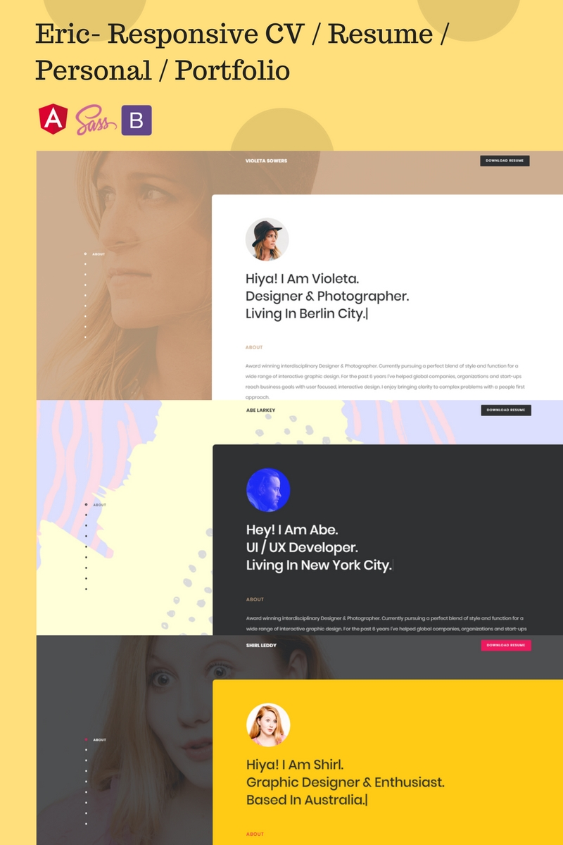 "Responzivní Šablona webových stránek ""Eric- Responsive CV / Resume / Personal / Portfolio"" #67161 - screenshot"