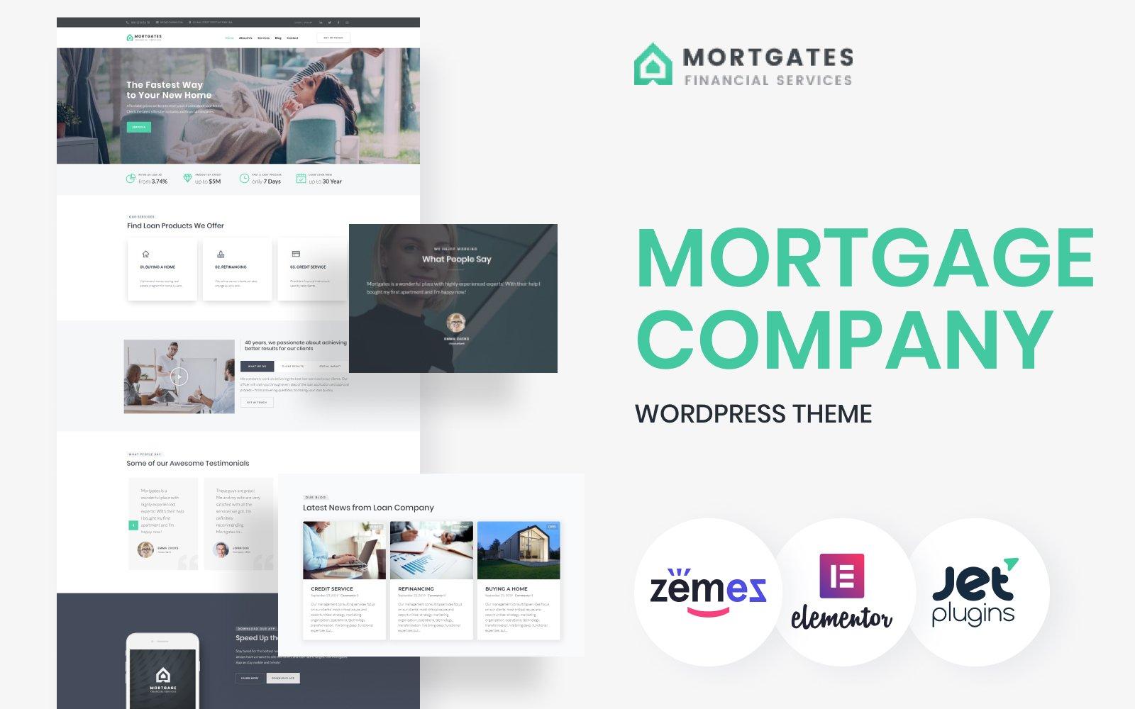 """Responzivní WordPress motiv """"Mortgates - Financial Services"""" #67116"""