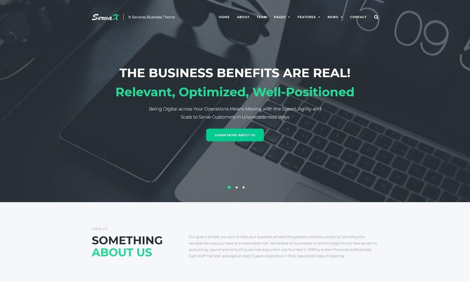 """ServaX - IT Services Business"" WordPress thema №67184"