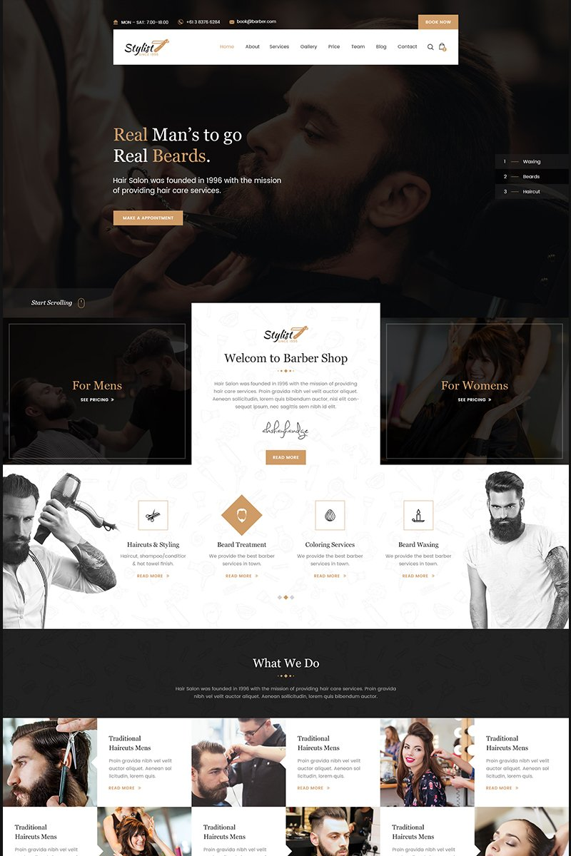 Stylist - Hair Salon Bootstrap Html Website Template