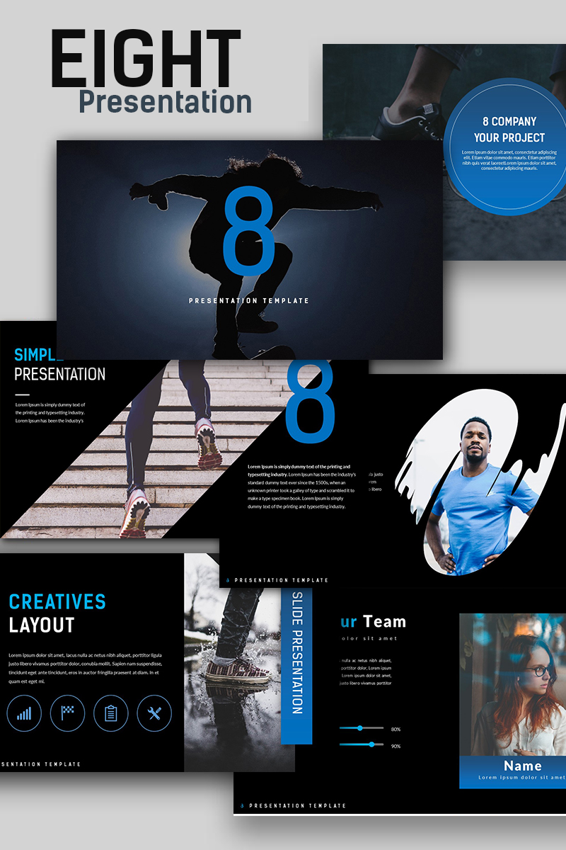Szablon PowerPoint Eight Creative Presentation #67142