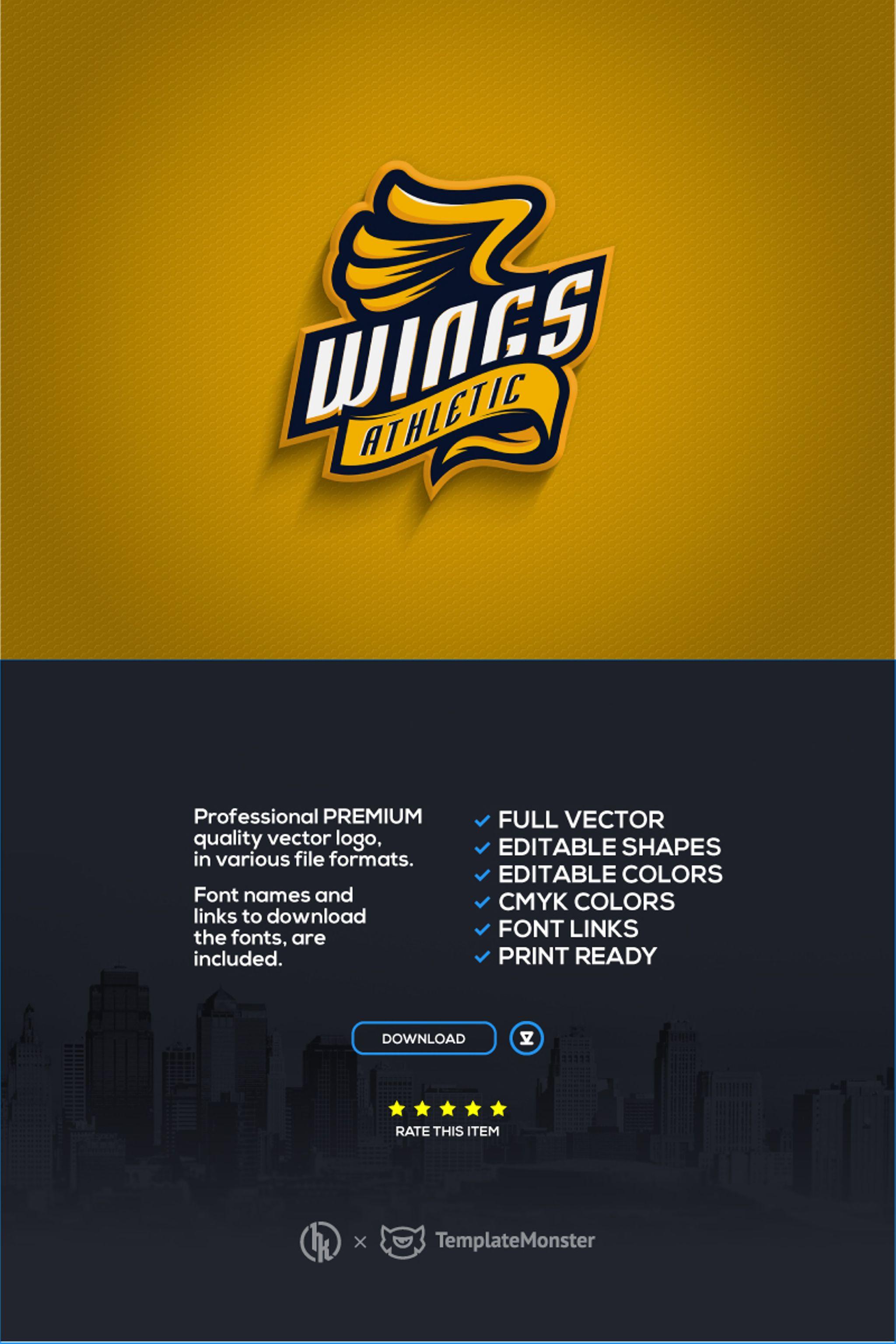 """Template di Loghi #67198 """"Wings Athletic"""""""