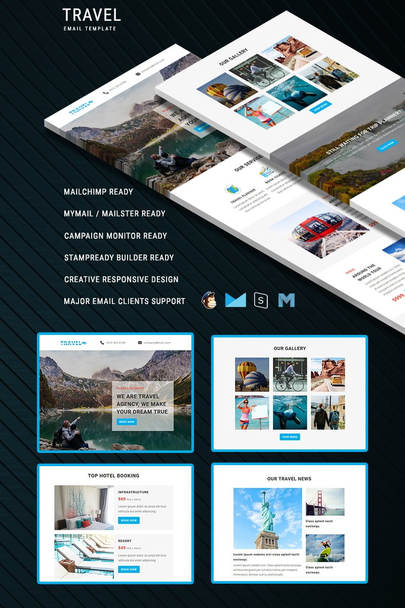 """Template di Newsletter Responsive #67153 """"Travel - Responsive Email"""""""