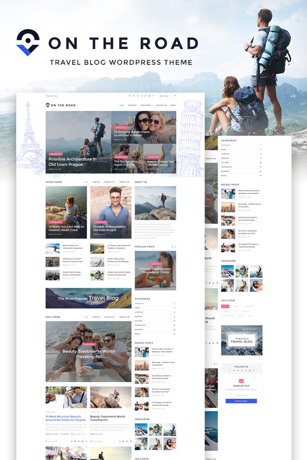 "Template WordPress #67186 ""On The Road - Travel Blog"""