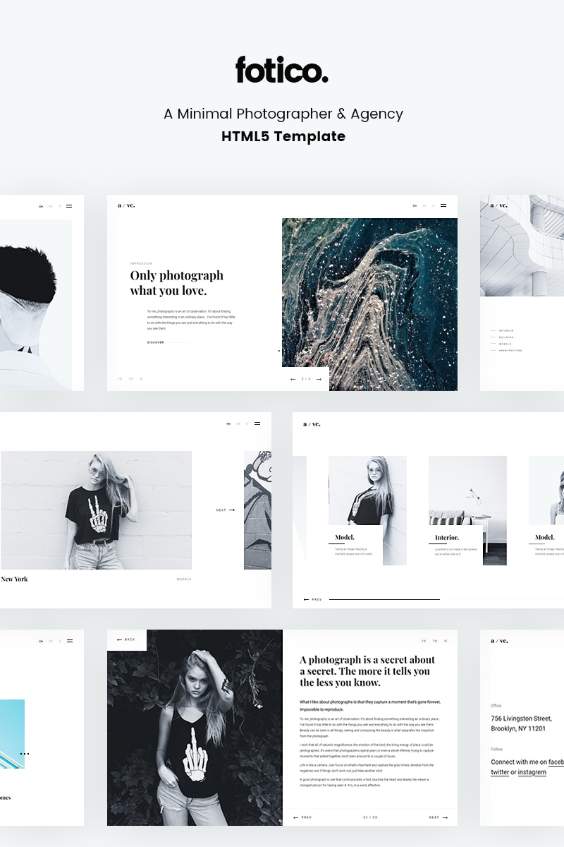 "Website Vorlage namens ""Fotico - Minimal Photographer & Agency HTML5"" #67126"