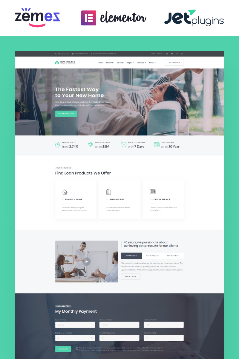 "WordPress Theme namens ""Mortgates - Financial Services with Elementor Builder"" #67116"