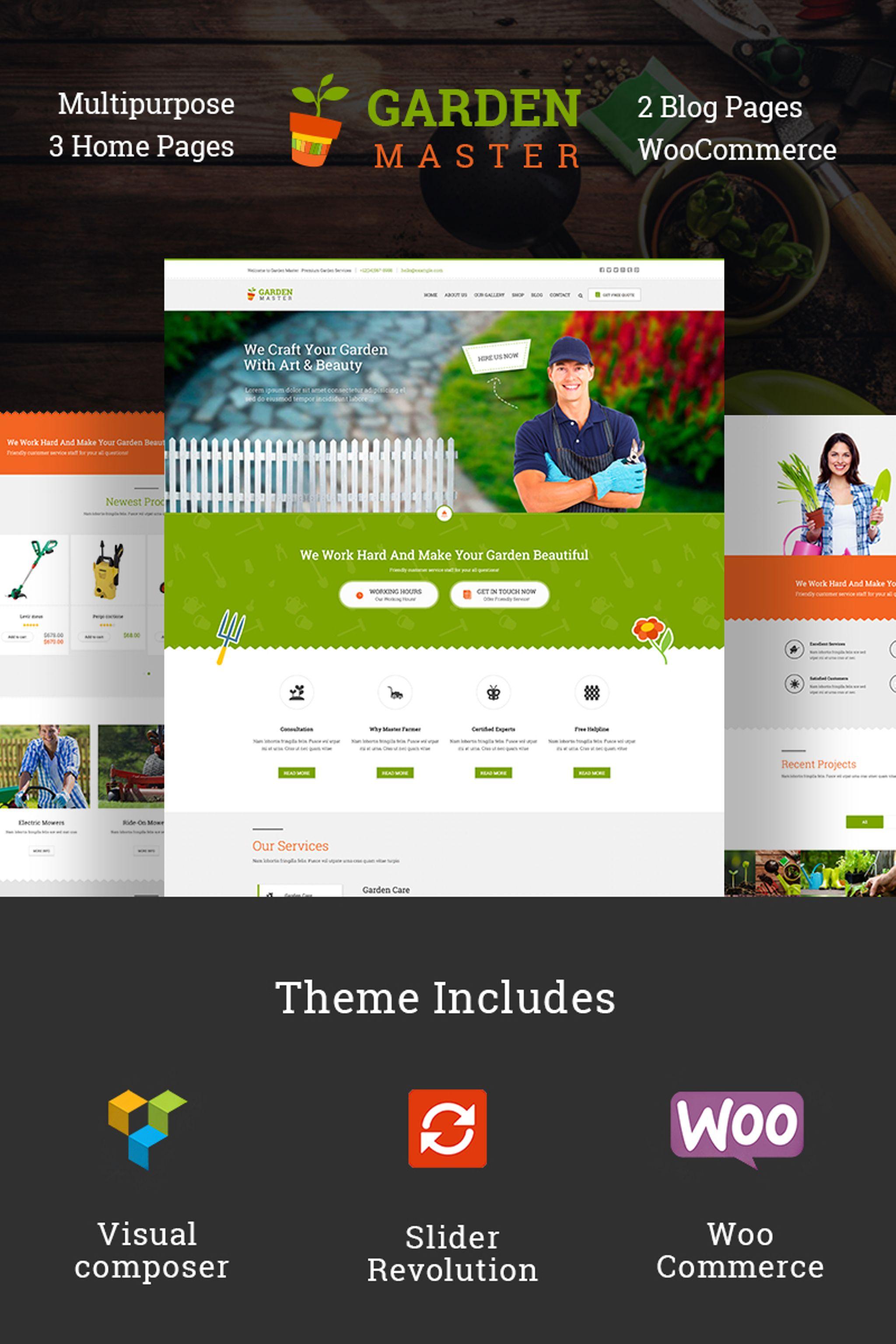 "WPML Ready WordPress motiv ""Garden Master"" #67136"