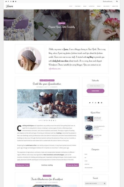 Website Design Template 67237 - bold clean creative fashion food hipster instagram lifestyle minimal personal photography travel wordpress essential grid masonry sidebar fullwidth