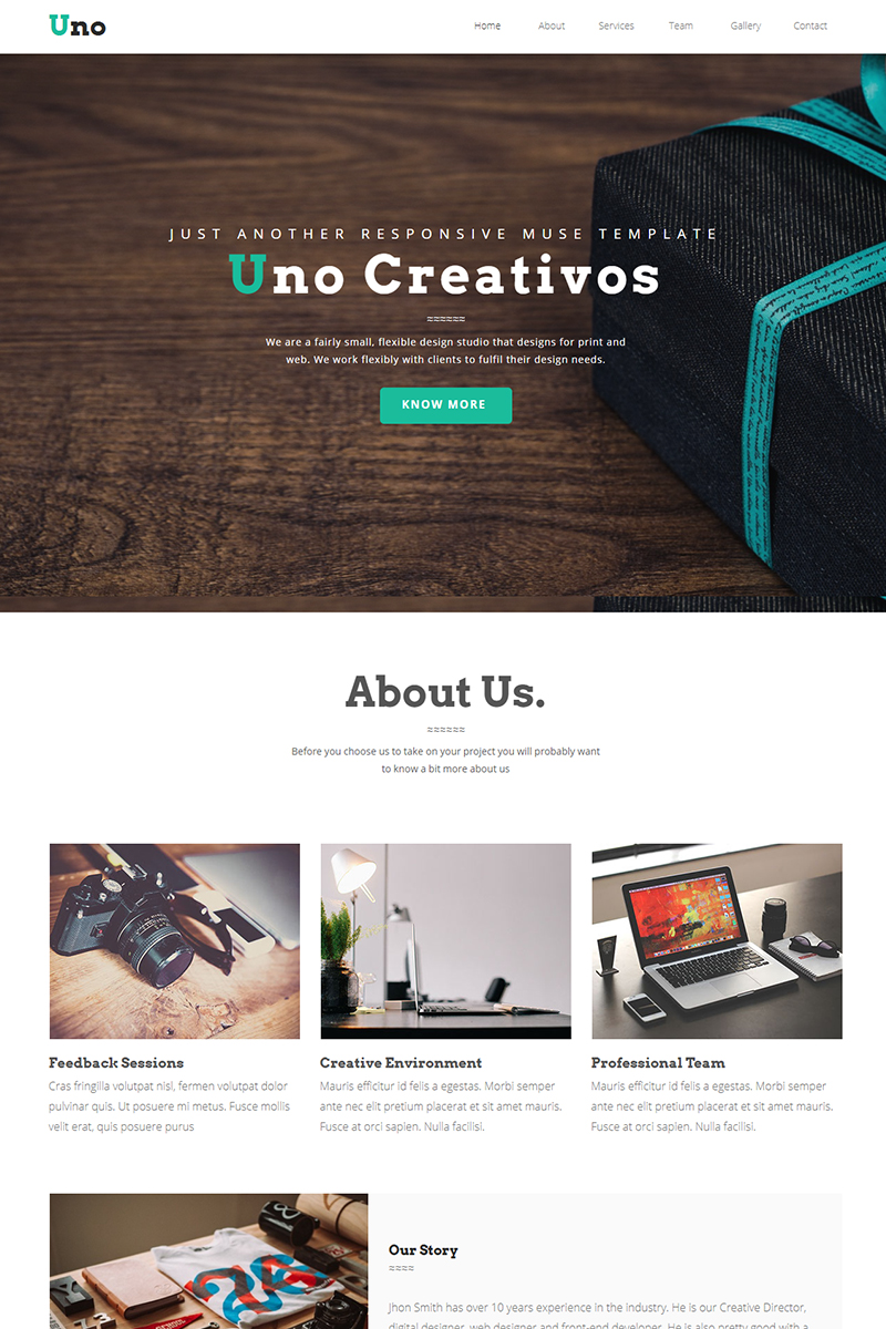 Website Design Template 67275 - adobe muse parallax corporate business uno creative multipurpose onepage veriations dasagani portfolio agency