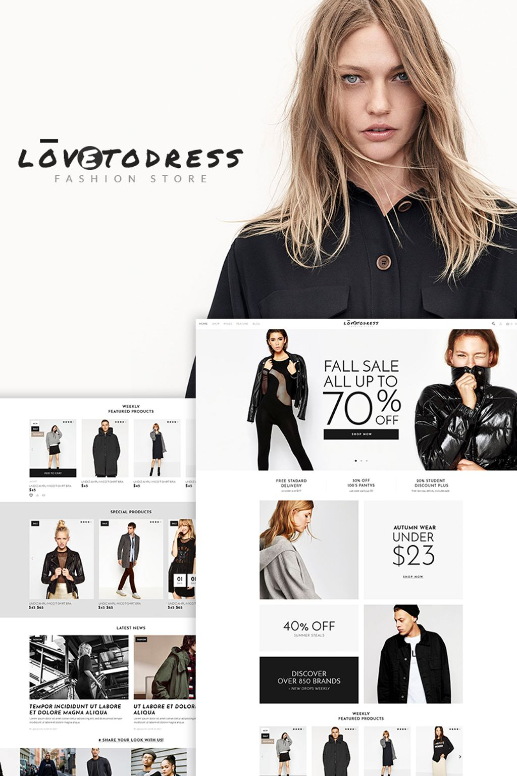 Website Design Template 67288 - store beauty blog style accessories clothes wardrobe lookbook stylish portfolio post gallery shopping premium promotion responsive testimonials creative design