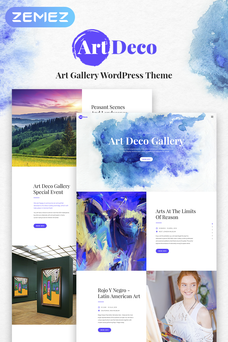 """Art Deco - Gallery Art Gallery"" - WordPress шаблон №67290"