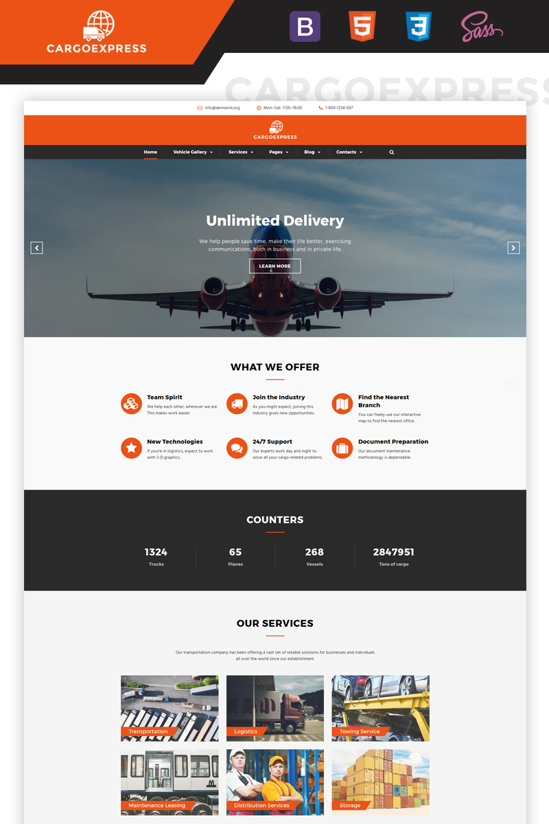 """Cargo Express - Delivery Services Multipage HTML5"" 响应式网页模板 #67265"