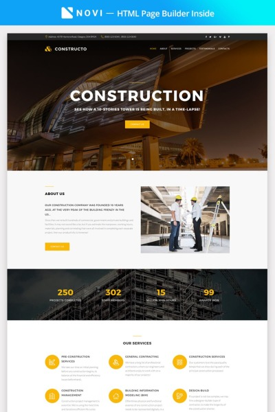 Constructo - Construction Company with Novi Builder Landing Page Template #67292