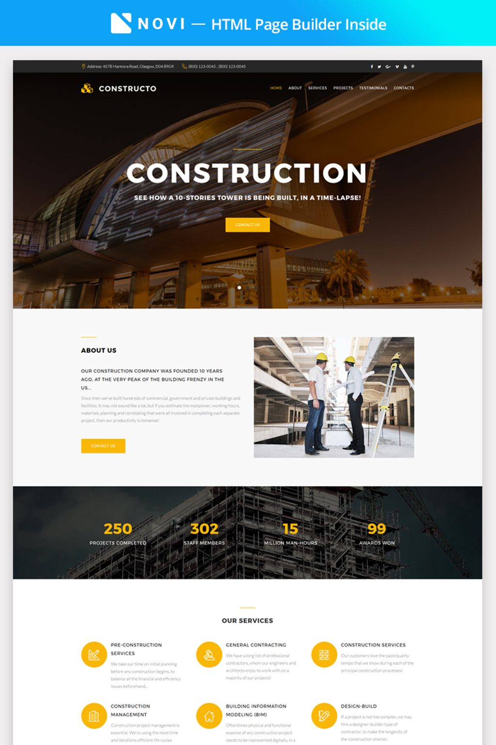"""Constructo - Construction Company with Novi Builder"" 响应式着陆页模板 #67292"