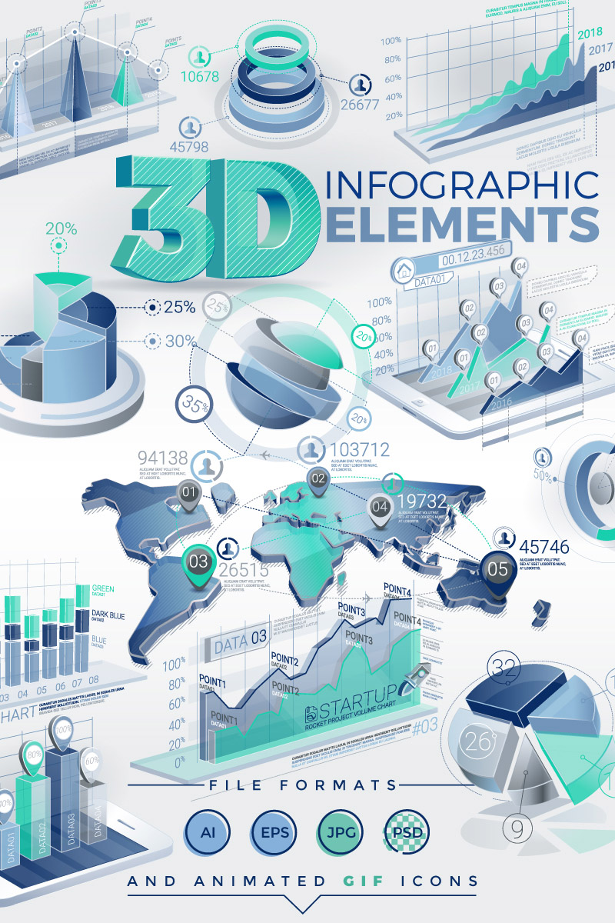 3D Infographic Elements - screenshot