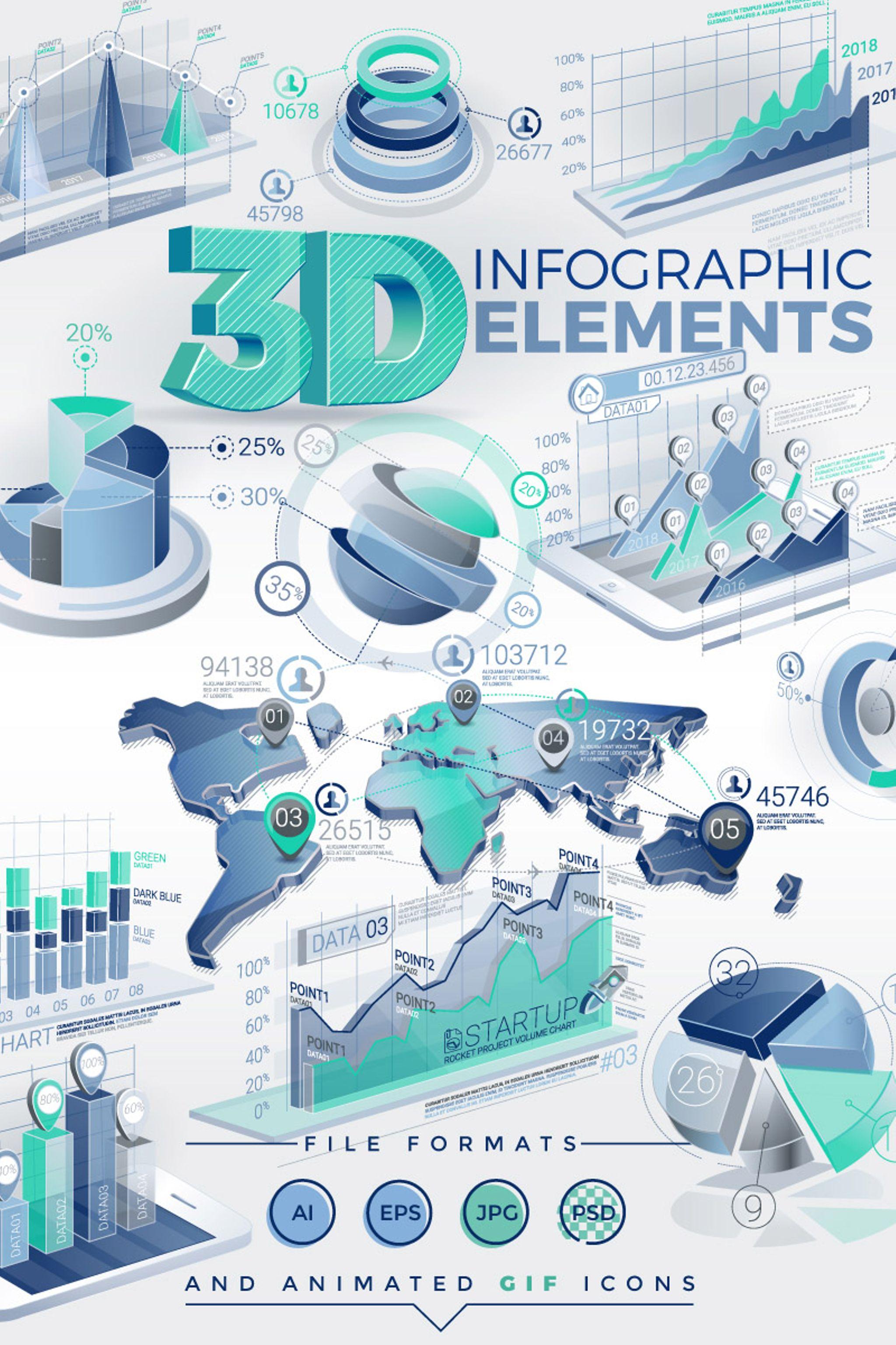 """""""3D"""" 信息图表元素 #67295"""