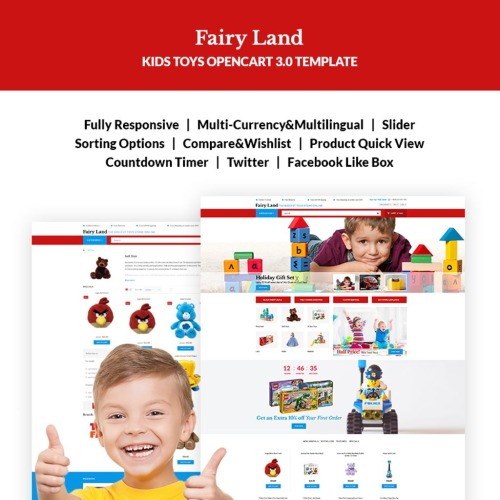Faury Land - Kids Toys & Clothes - OpenCart Template based on Bootstrap