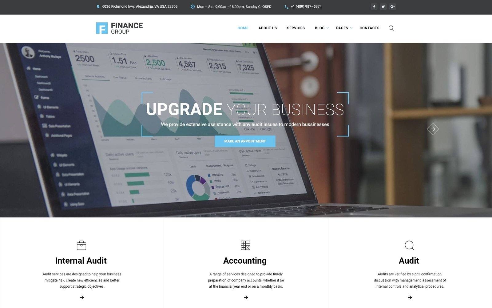 """""""Finance Group - Accounting & Audit Multipage HTML"""" 响应式网页模板 #67262 - 截图"""