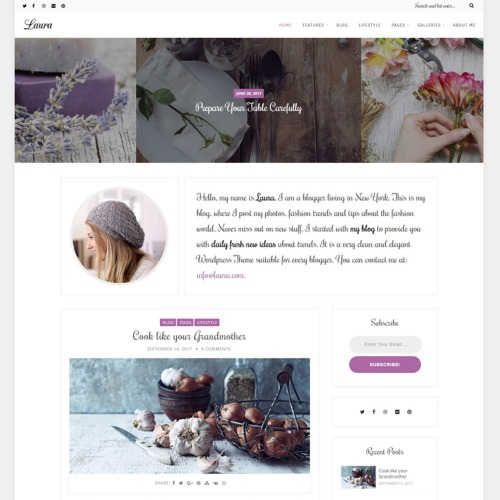 Laura - A Feminine Blog - Responsive WordPress Template