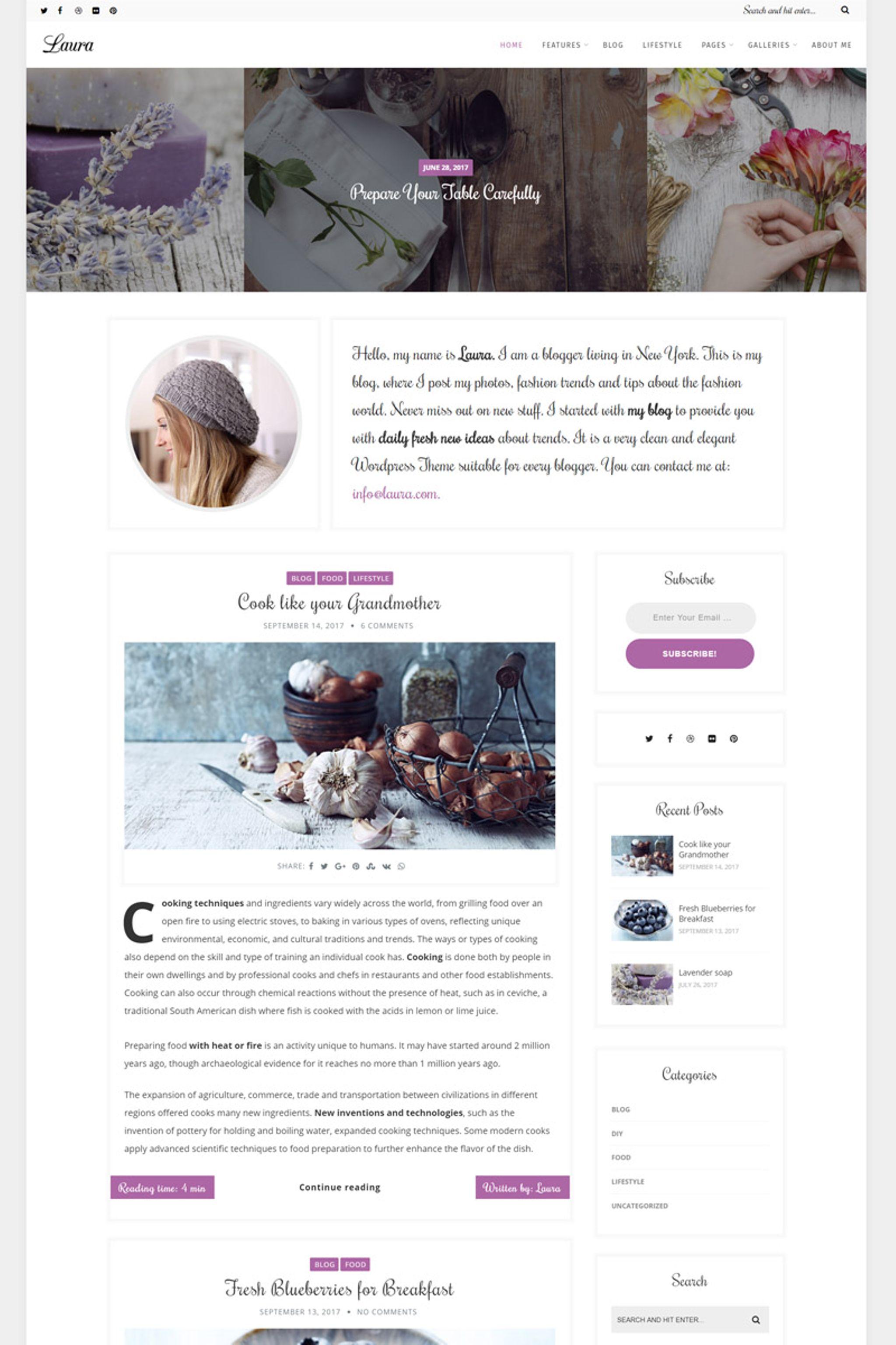 """Laura - A Feminine Blog"" 响应式WordPress模板 #67237"