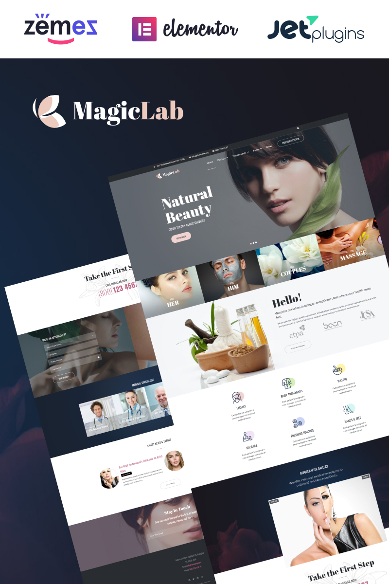 "Modello WordPress Responsive #67226 ""MagieLab - Cosmetic Clinic"""