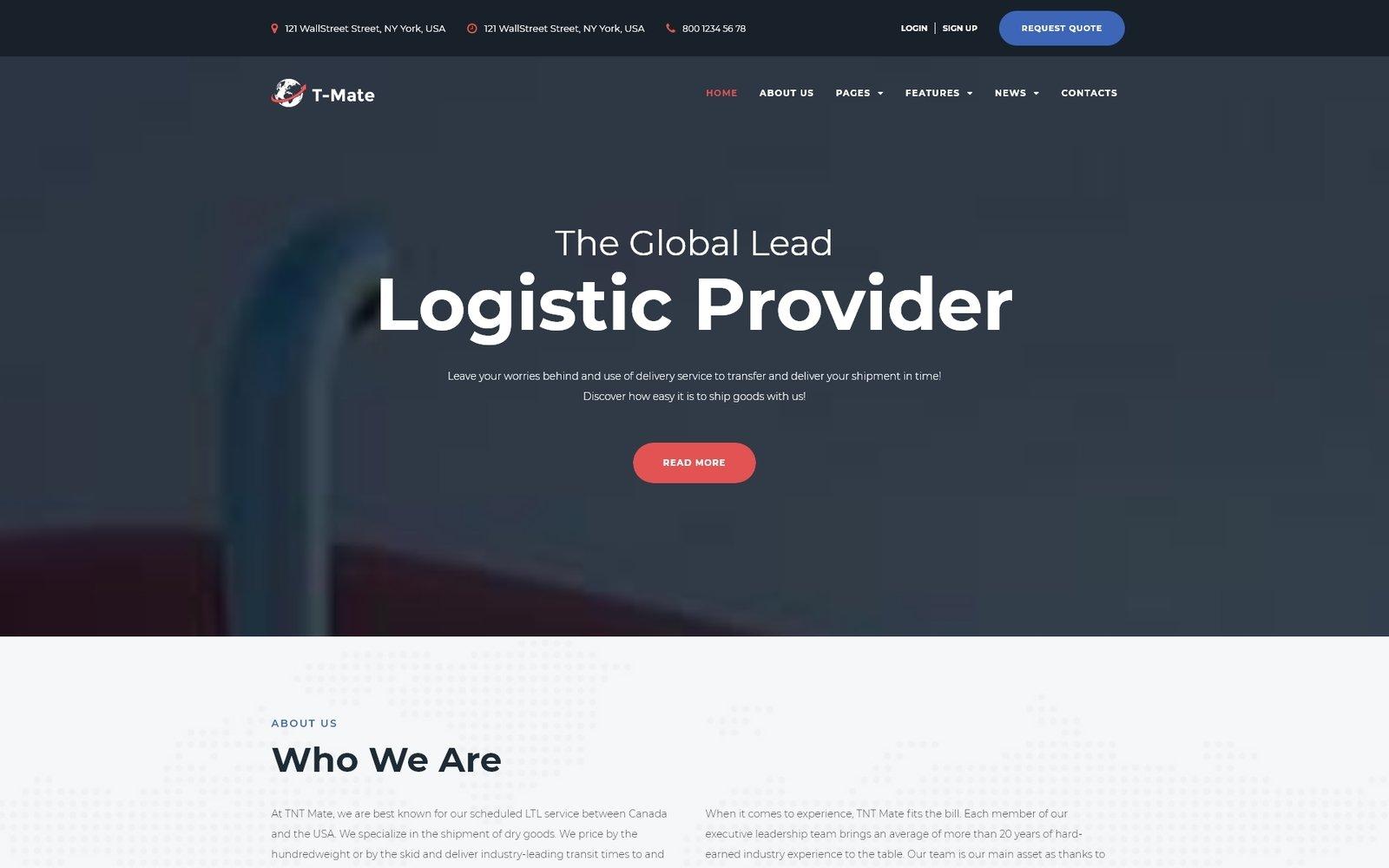 Motyw WordPress Transportation Services Responsive #67224