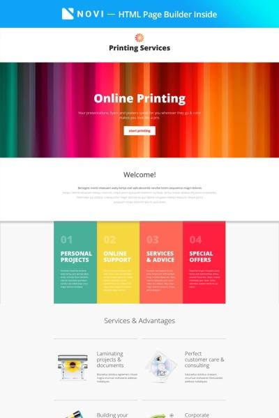 """Printing Services - Online Printing with Novi Builder"" - адаптивний Шаблон цільової сторінки #67261"