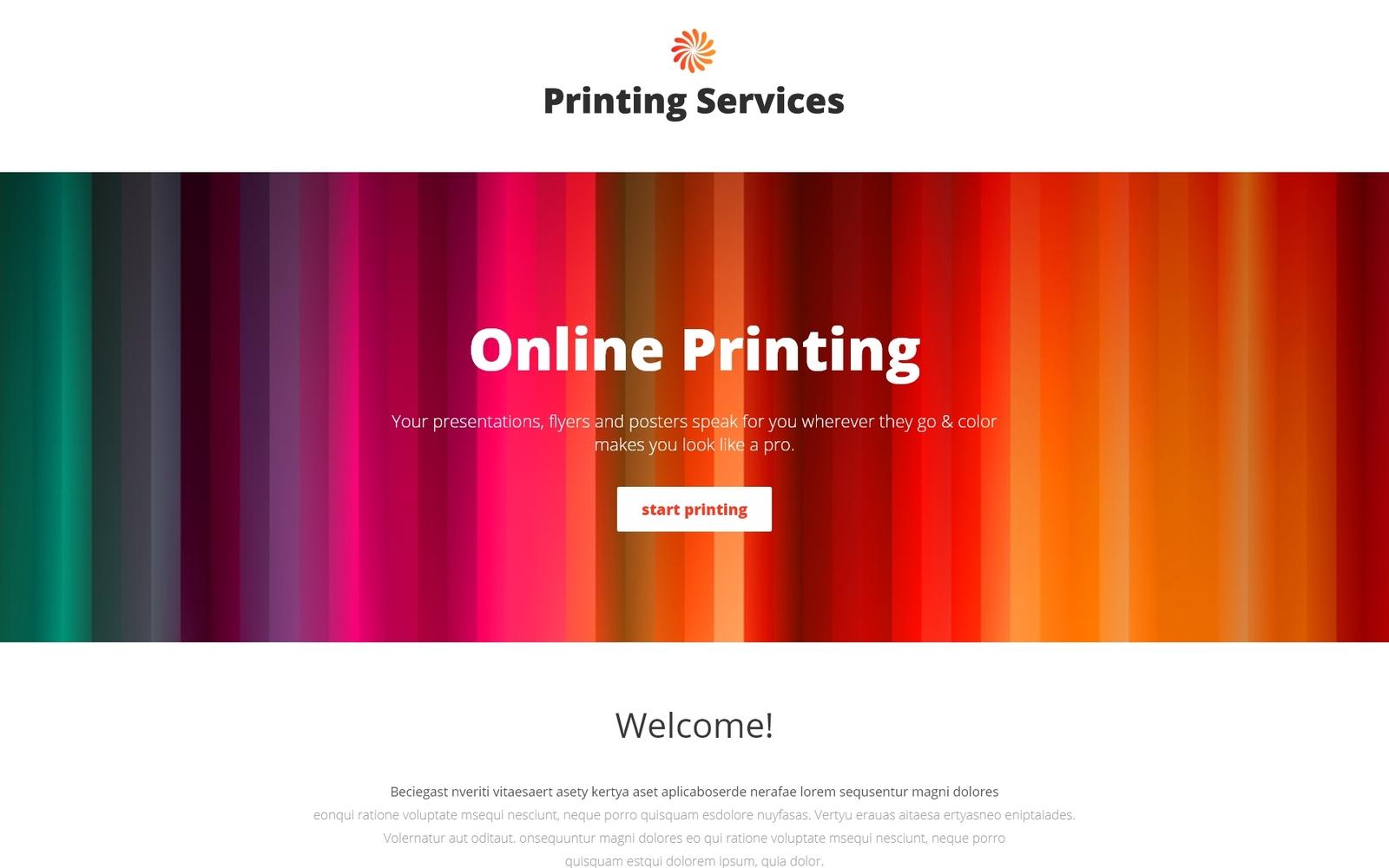 """Printing Services - Online Printing with Novi Builder Landing Page Template"" Responsive Landingspagina Template №67261"
