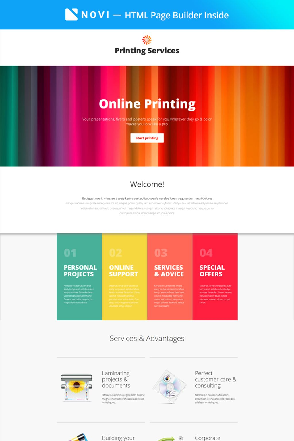 Printing Services - Online Printing with Novi Builder Landing Page Template