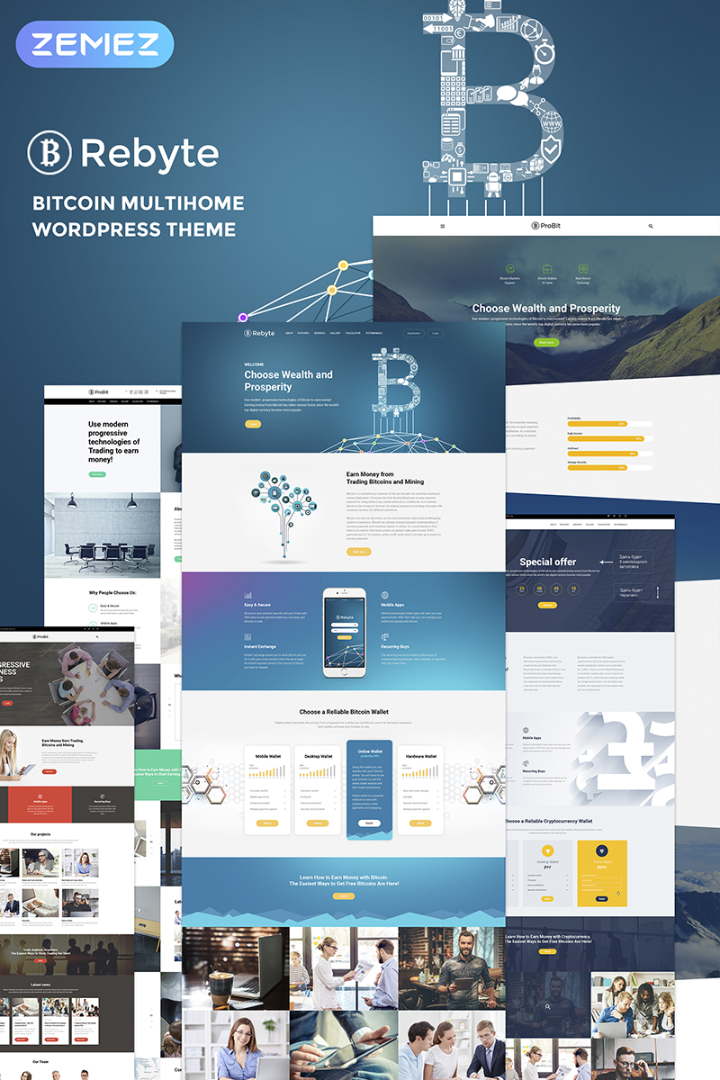 Rebyte Bitcoin Templates Tema WordPress №67289