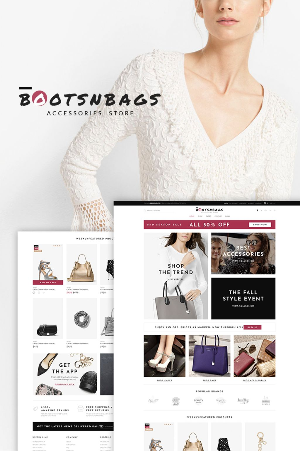 Responsivt BootsnBags - Accessories Store WooCommerce-tema #67263
