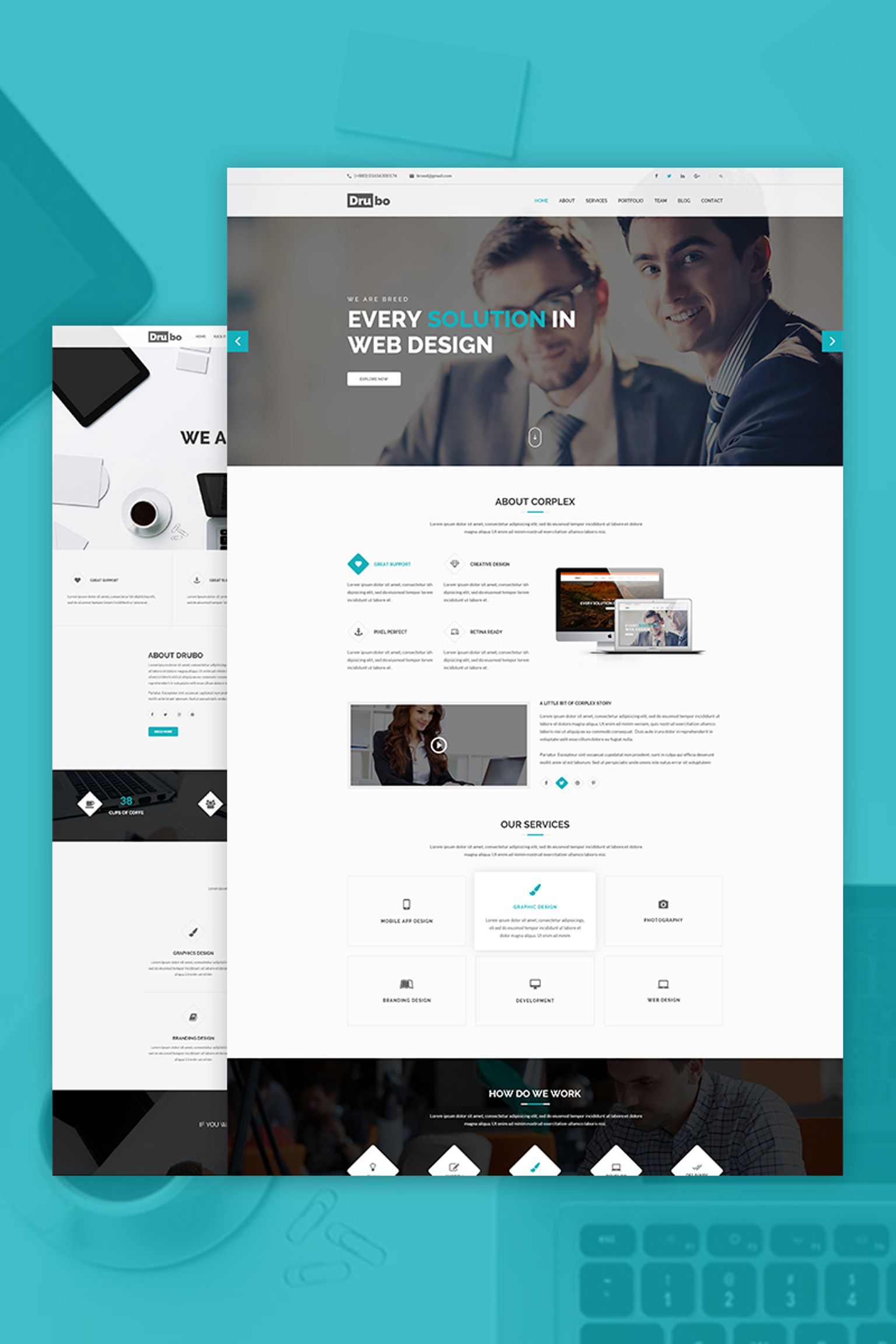 Responsivt Drubo - Corporate WordPress-tema #67246