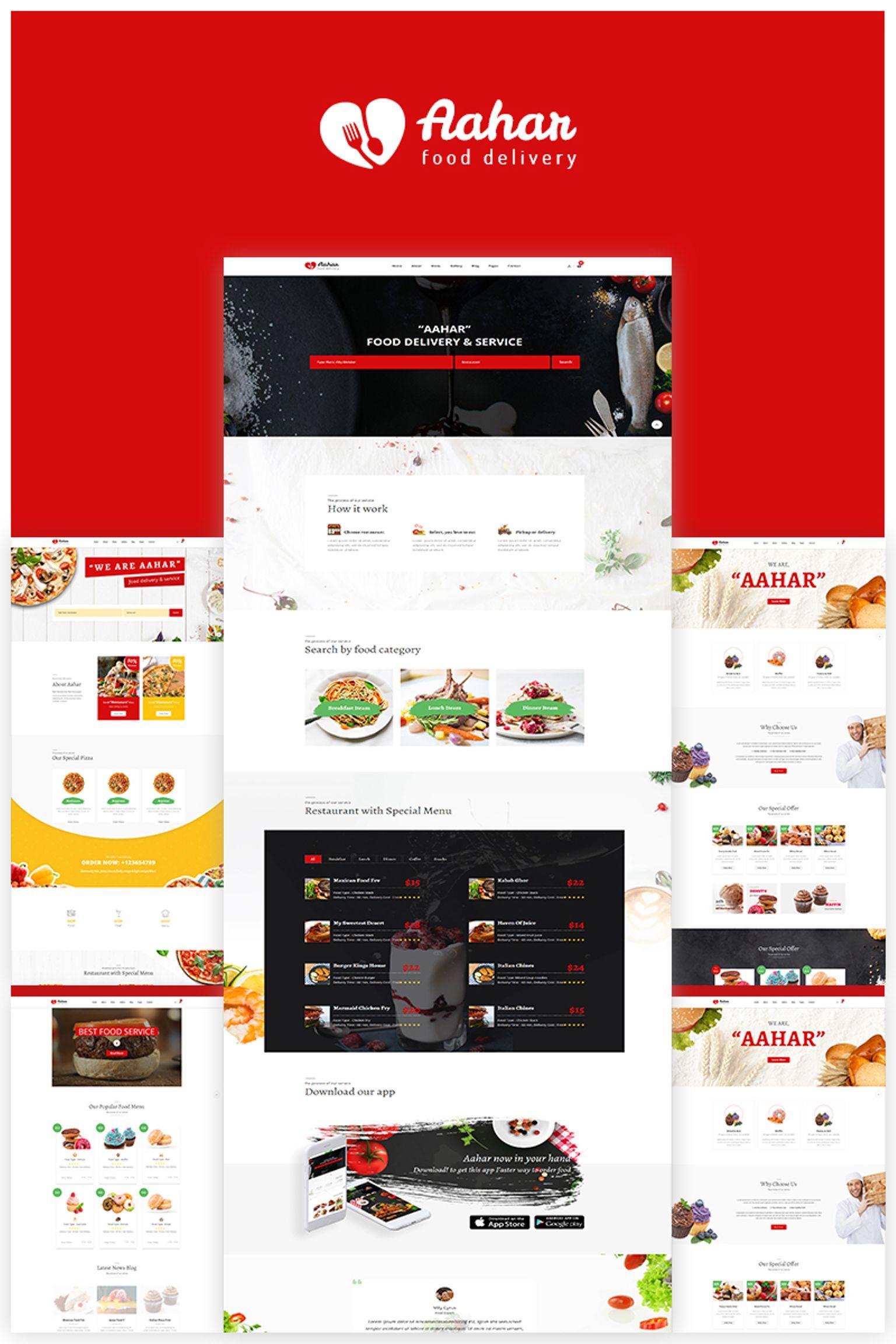 """Responzivní Šablona webových stránek """"Aahar -  Food Delivery Bootstrap4"""" #67272"""