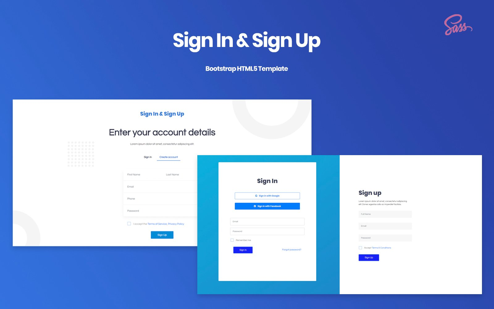 Sign In & Sign Up - Responsive Bootstrap v4.5 Template Specialty Page