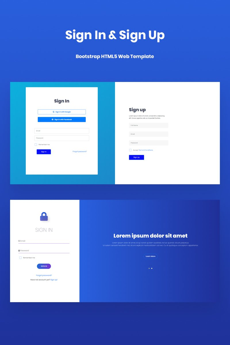 """Sign In & Sign Up Template, HTML5, Bootstrap v4.3"" page de spécialité adaptatif #67252"