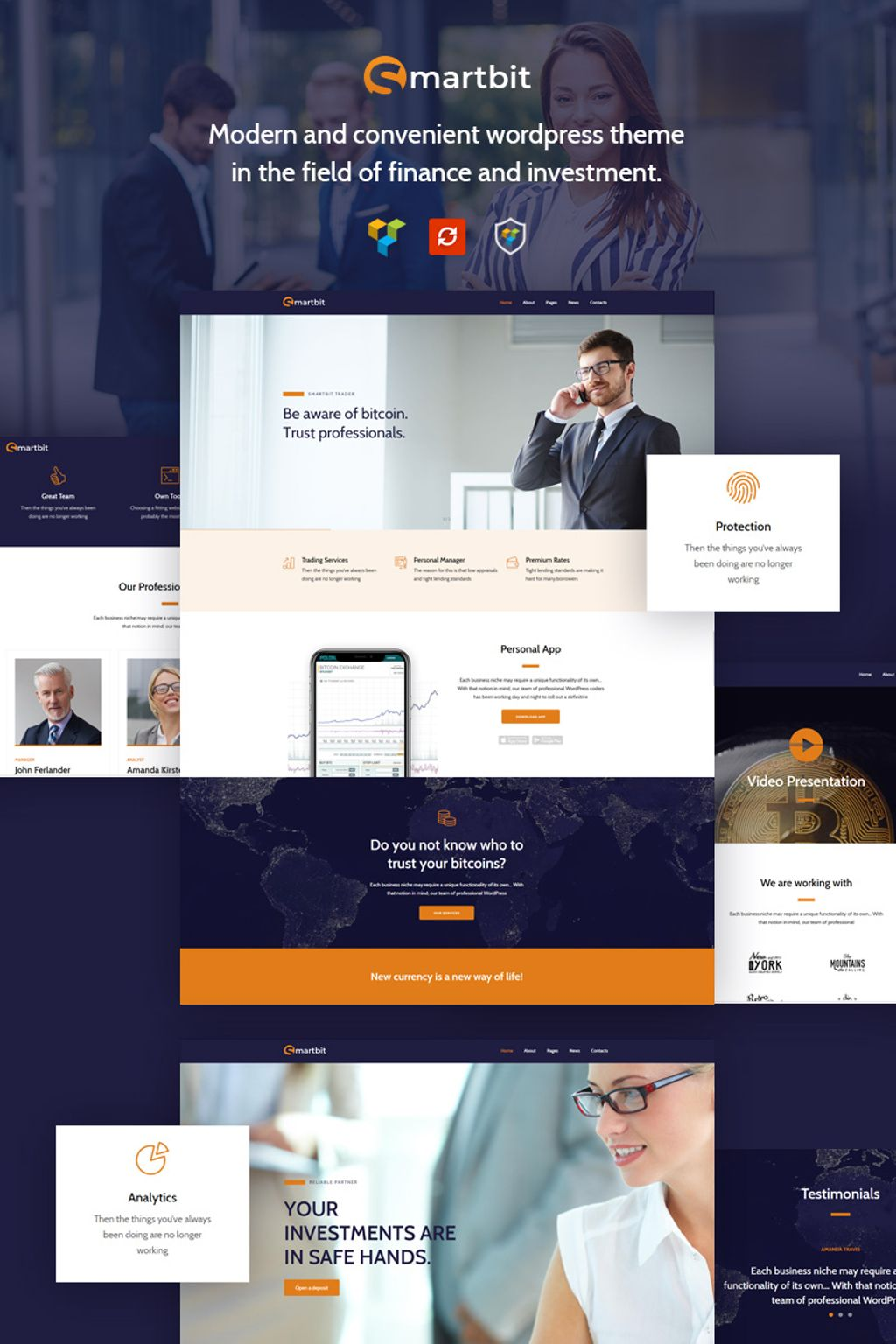"""Smartbit - Finance & Corporate"" 响应式WordPress模板 #67296"